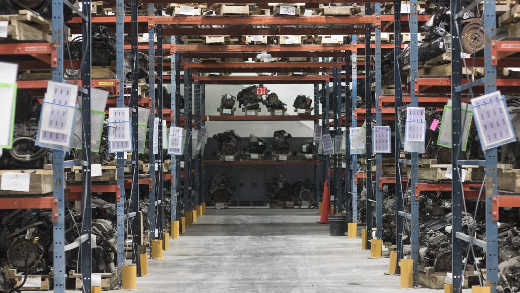 Warehouse full of car parts